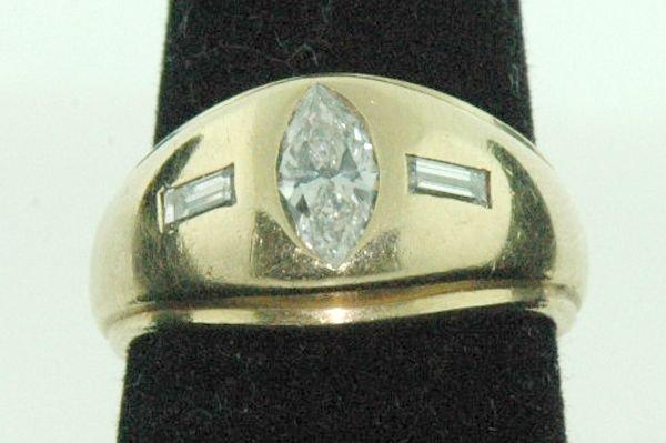 832: MENS 14KT Y.G. ESTATE DIAMOND RING .75CT