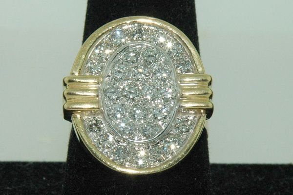 834: 18KT Y.G. 2.00CT DIAMOND CLUSTER RING