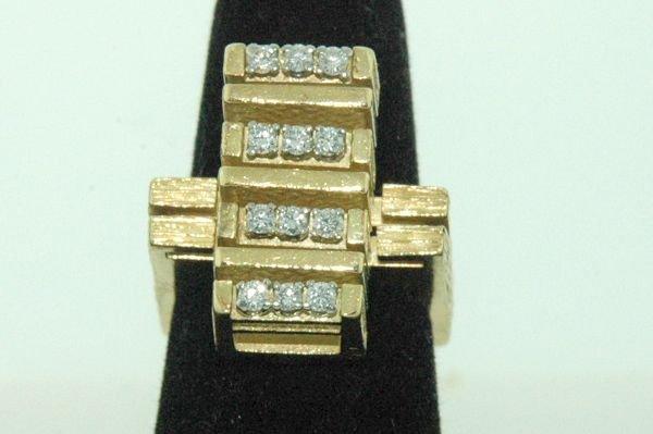 835: 18KT Y.G. CUSTOM DIAMOND RING .50CT