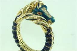 18KT Y.G. ENAMEL HORSE HEAD DIAMOND BANGLE