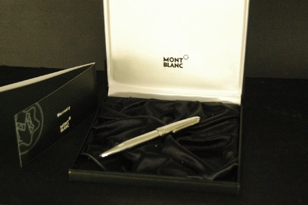 850B: MONTBLANC STAINLESS BALLPOINT ORIG BOX/PAPERS