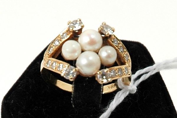 21: VICTORIAN DIAMOND AND PEARL RING