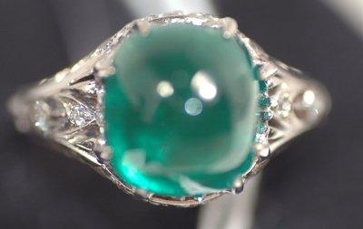 214: MUZO EMERALD CABACHON AND DIAMOND RING VERY FINE