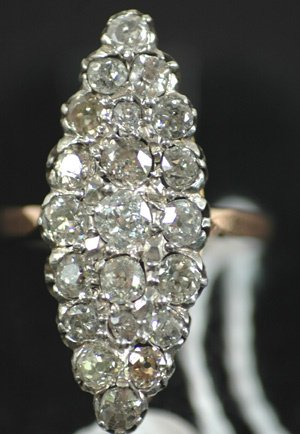 262: VICTORIAN 2 TONE NAVETTE SHAPED DIAMOND RING