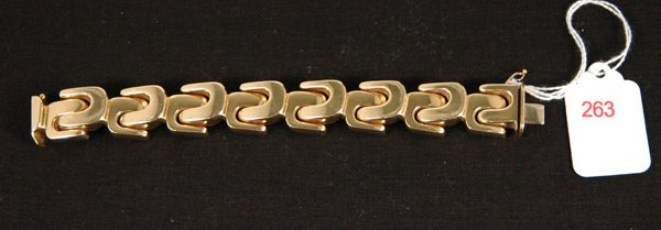 263: YELLOW GOLD WIDE BRACELET
