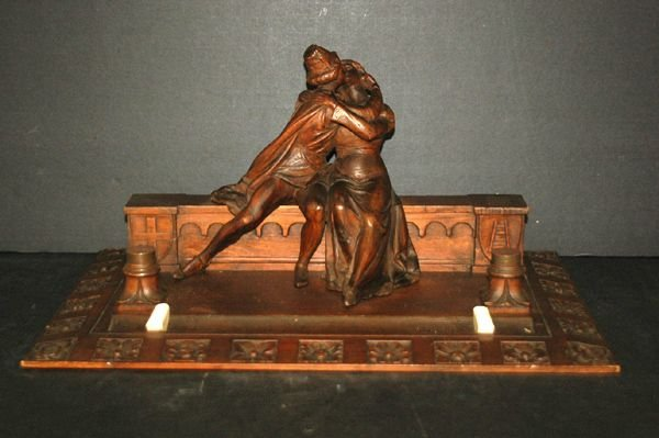 1213: EARLY ITALIAN CARVED INKWELL WITH ROMEO AND JULIE
