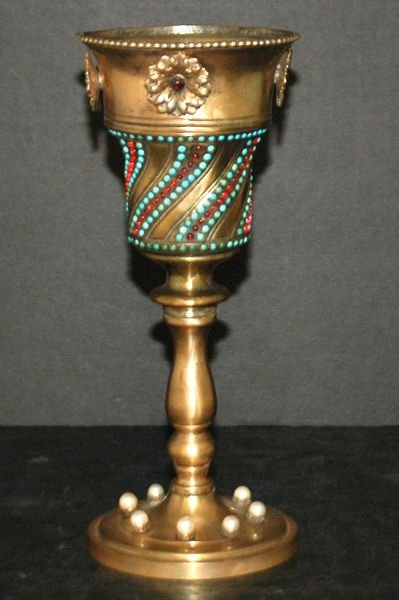 1214: 19TH CENT HUNGARIAN STERLING AND JEWELED CHALICE