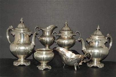 1218: HUGE 6 PIECE GRANDE BAROQUE STERLING TEA SET
