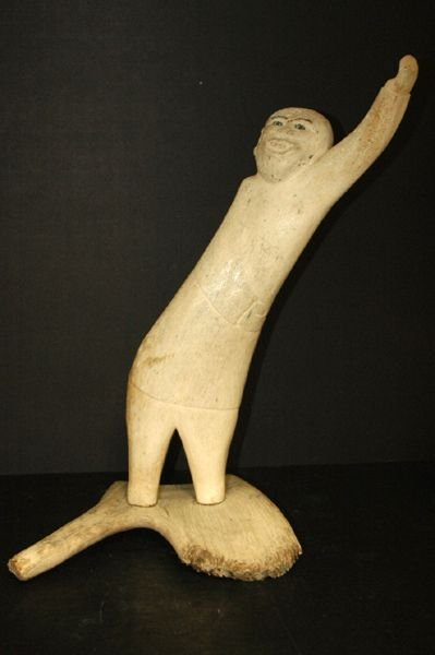 1220: ANTIQUE LARGE CARVED WHALE BONE LISTED ARTIST TOC