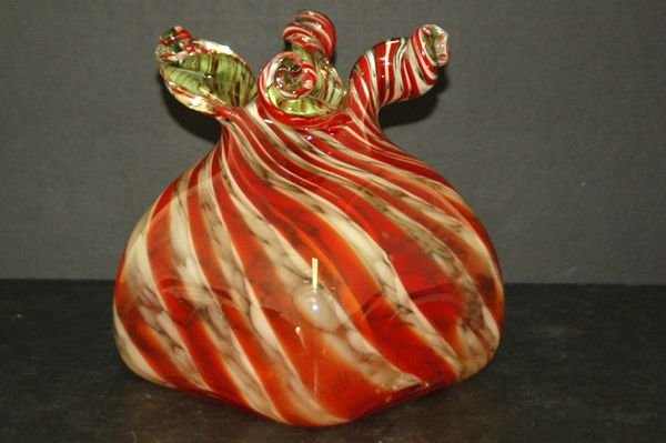 1225: UNUSUAL ITALIAN RED AND WHITE STRIPED TWISTED VAS