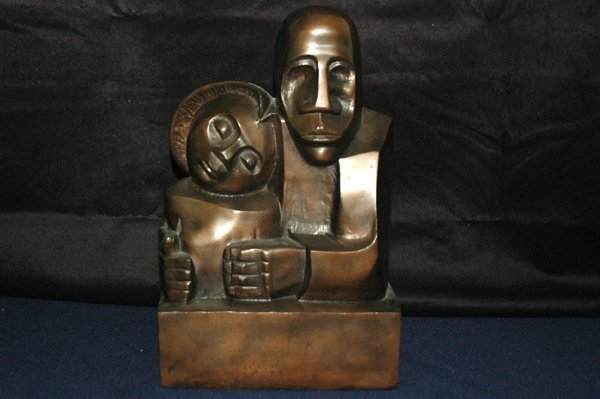 1276: BRONZE OF MAN AND WOMAN SIGNED AMEN 16 INCH