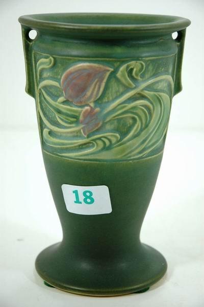 """18: ROSEVILLE 8"""" GREEN PANEL VASE"""