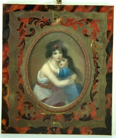 """174: 3"""" FRAMED IVORY MINIATURE OF MOTHER AND DAUGHTER"""