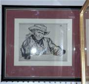 218C 5X7 CARICATURE STUDY ETCHING BY WILLIAM AUERB