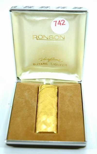 742: RONSON GOLD PLATED LIGHTER WITH ORIG. BOX