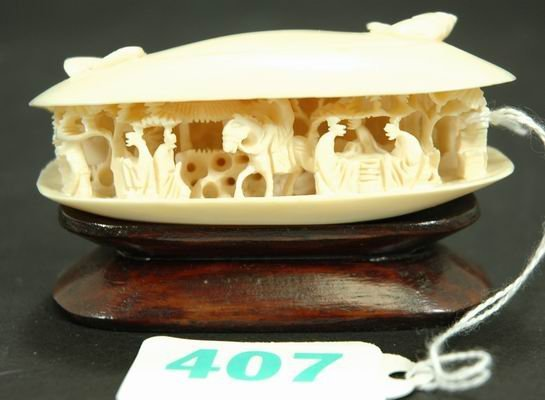 407: FABULOUS CARVED IVORY CLAM SHELL WITH BASE