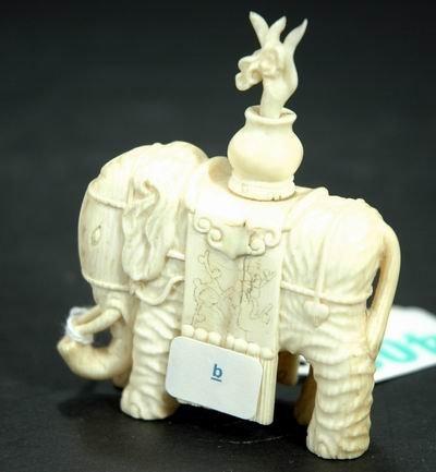 408: WONDERFUL ANTIQUE CARVED IVORY ELEPHANT APPROXIMAT