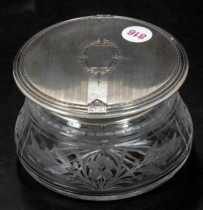 816: VINTAGE LADIES STERLING TOPPED DRESSER JAR