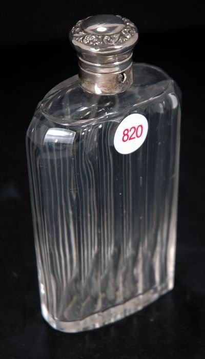 820: VINTAGE GLASS FLASK WITH STERLING SILVER TOP