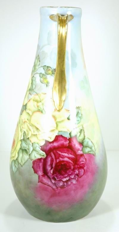 800: LARGE HAND PAINTED ANTIQUE LIMOGES ROSES VASE