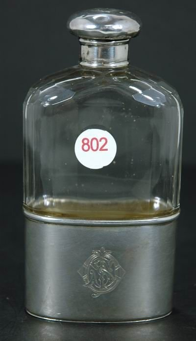 802: WONDERFUL VINTAGE STERLING SILVER AND GLASS FLASK