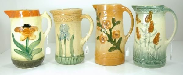 950A: COLLECTION OF 4 ANTIQUE AMERICAN POTTERY PITCHERS