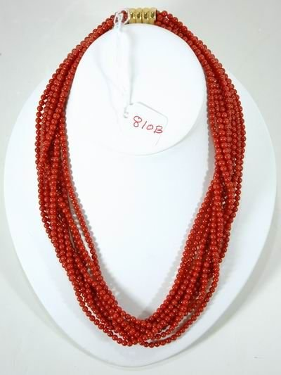 810B: VINTAGE MULTI  STRANDS  CORAL BEADS WITH 14KT GOL
