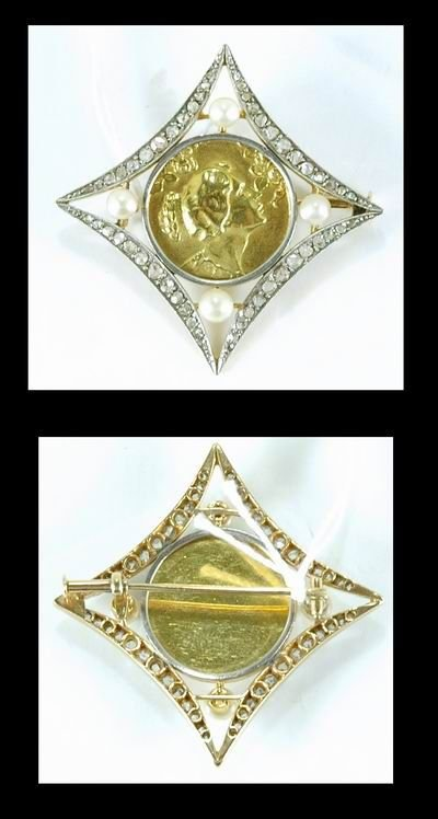 9: VICTORIAN 18KT ROSE DIAMOND PIN