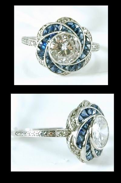 2: MAGNIFICENT ART DECO DIAMOND AND SAPPHIRE RING