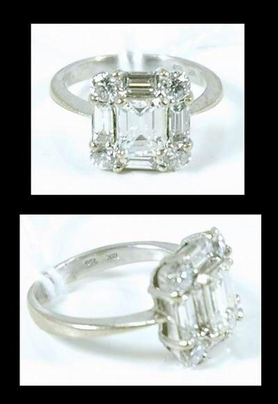 14: 18KT WHITE GOLD 2.50CT EMERALD DIAMOND RING