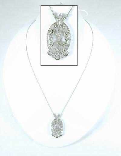4: ART DECO PLATINUM DIAMOND PENDANT AND CHAIN