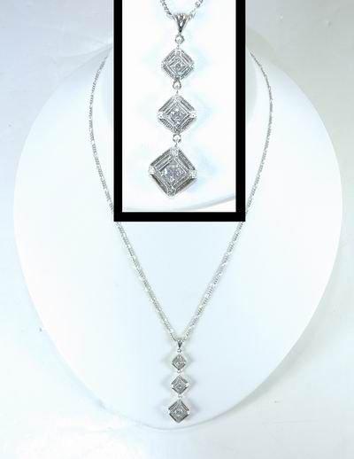 13: 14KT WHITE GOLD ART DECO STYLE DIAMOND PENDANT