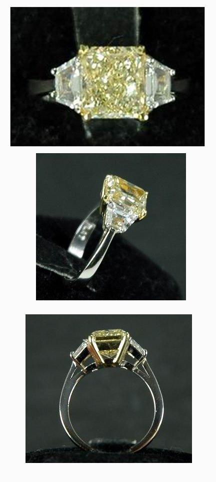 18: INCREDIBLE 3.07CT CANARY EMERALD CUT DIAMOND RING