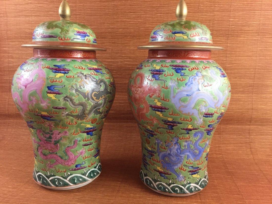 A Pair of Vintage Famille Rose Jar