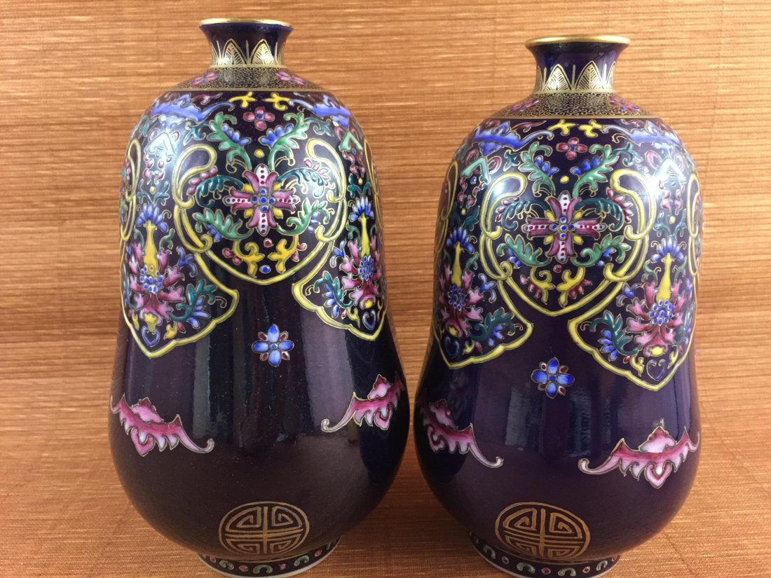 A Pair of Rare Chinese balck ground with famille rose