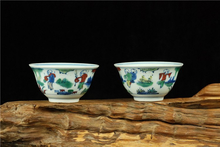 A Pair of Chinese Fine Blue Underglaze Red Bowl