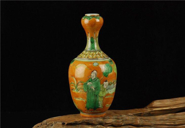 Chinese Famille rose Porcelain Vase with Orange Ground