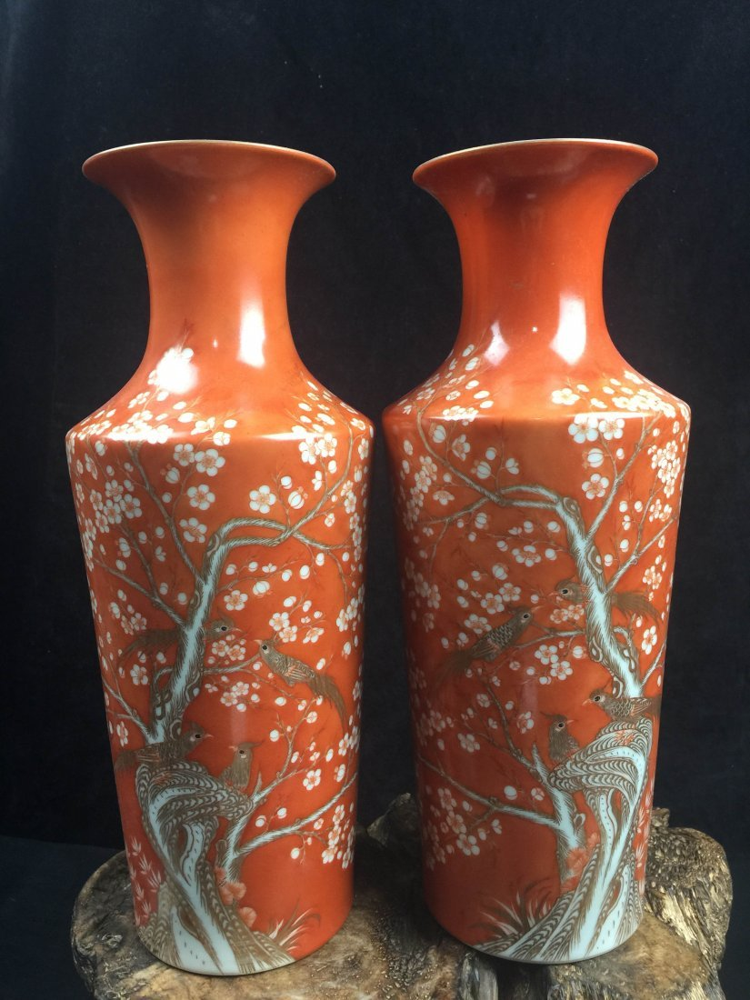 A Pair of Fine Chinese Famille rose Porcelain Vase With