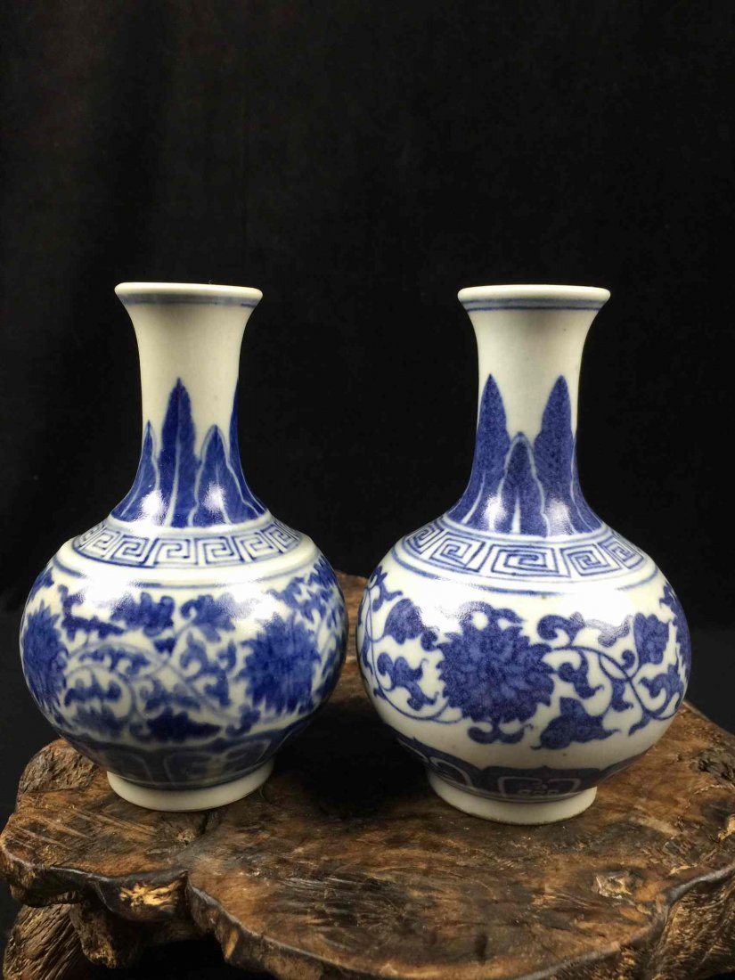 A Pair of Chinese Fine Blue & White Porcelain Vase