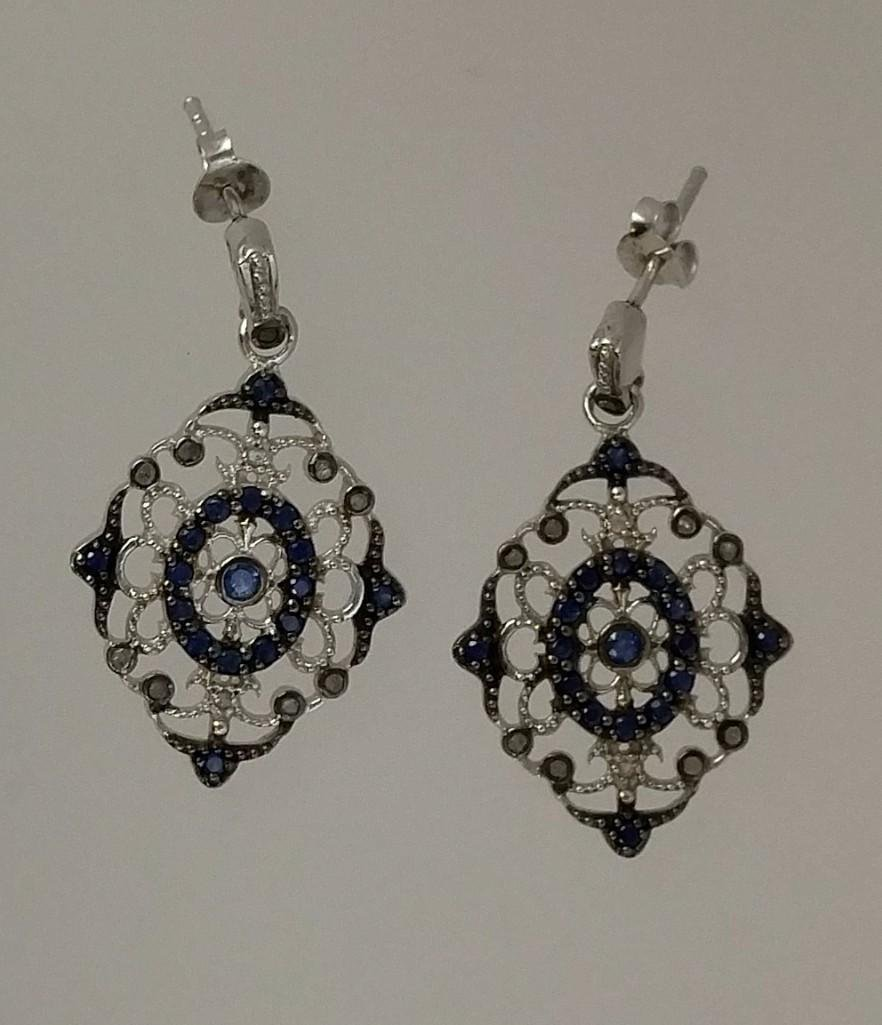 Sterling silver antique style dangle earrings