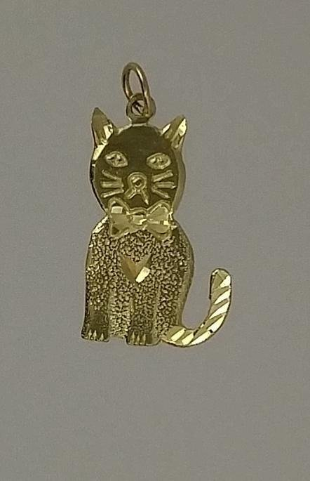 14ky Gold cat charm