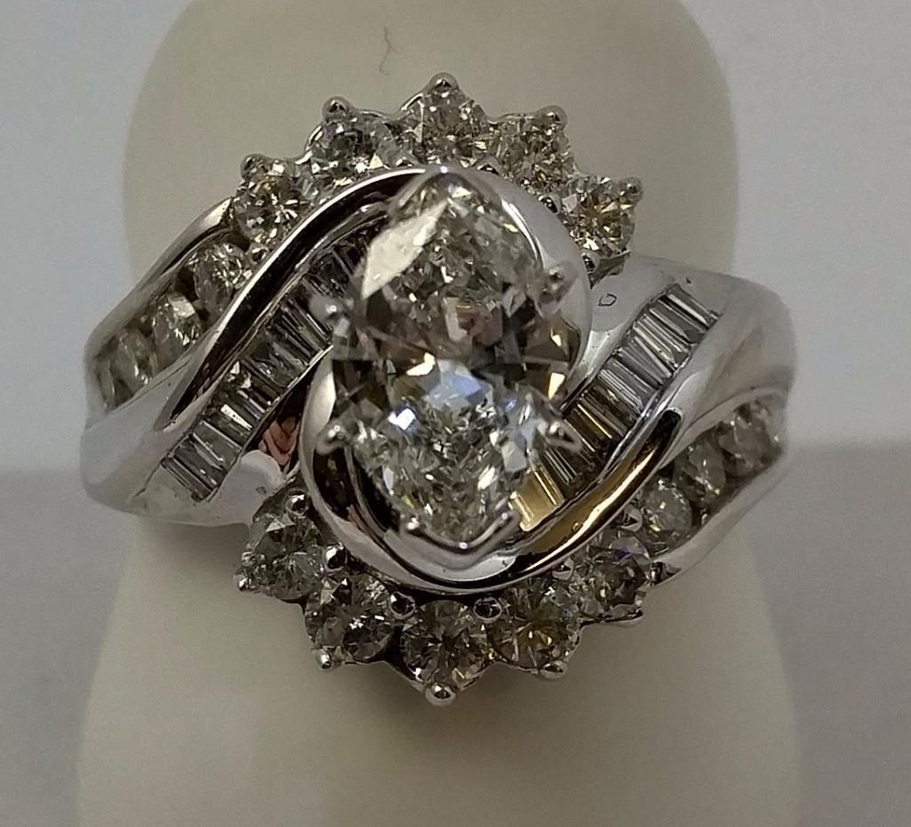 14KT white gold ladies diamond engagement ring