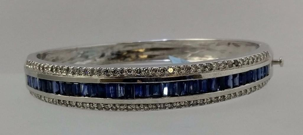 14KT white gold ladies sapphire and diamond bangle