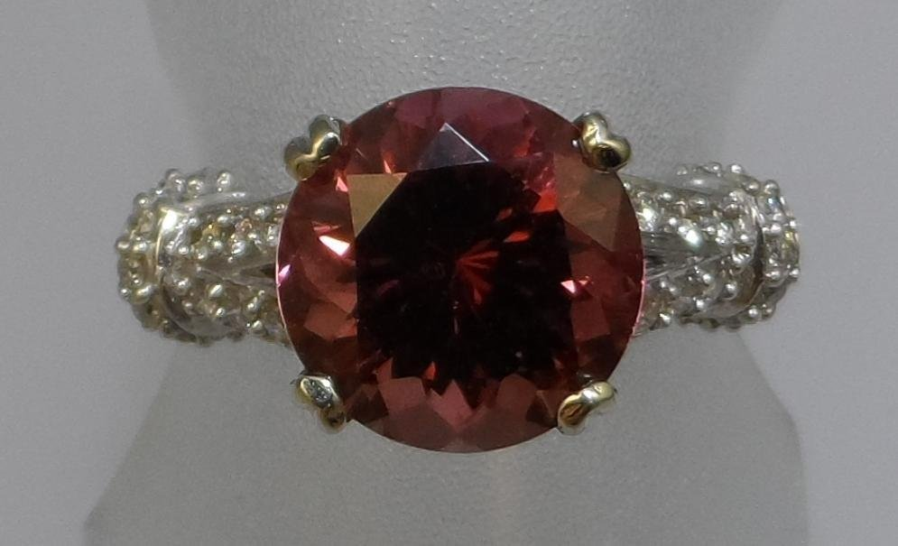 Ladies 14k white gold Rubellite and Diamond Ring