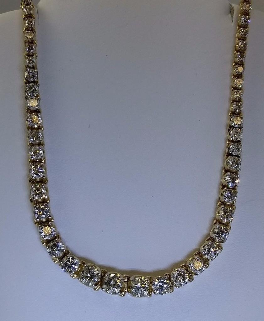 14KT yellow gold ladies diamond necklace