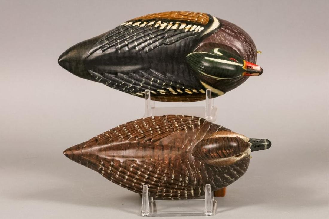 Carl Christiansen Pair of Wood Duck Decoys, - 5