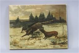 Early Original Oil Painting on Canvas by Elkara,