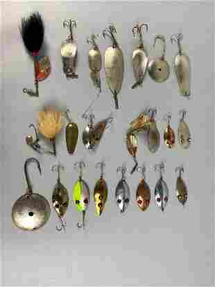 23 Vintage Metal Fishing Lures, 2 Canadian Bait, 1 Cove