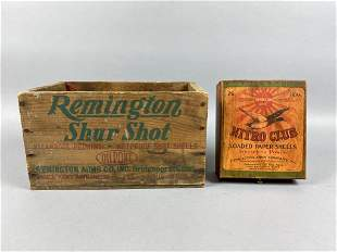 Vintage Wooden Ammo Crate & Wooden Box, 1 Remington