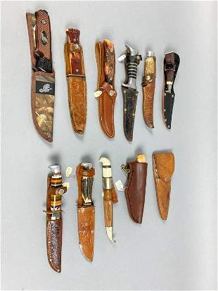 "11 Knives With Leather Sheaths, 1 unknown, 7.5""L, 1"